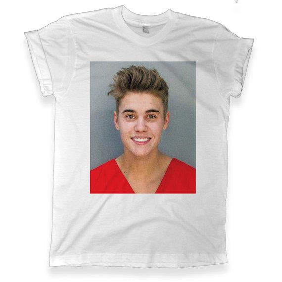 Justin Bieber Mug Shot Graphic White T shirt   Unisex Graphic Tee   Melonkiss - (455)