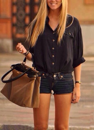 bag suede brown brown bag navy shirt shorts jeans