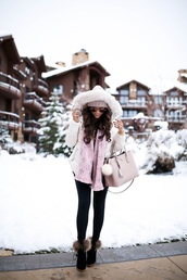 jacket,tumblr,white jacket,hooded jacket,down jacket,scarf,leggings,black leggings,boots,black boots,ankle boots,furry boots,bag,pink bag,beanie,sunglasses,winter outfits,winter jacket,winter look