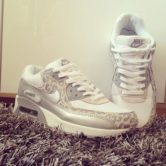 shoes nike air max white silver leopard print