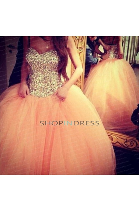 Ball gown sweetheart floor length organza pink quinceanera dress with rhinestone npd098004 sale at shopindress.com