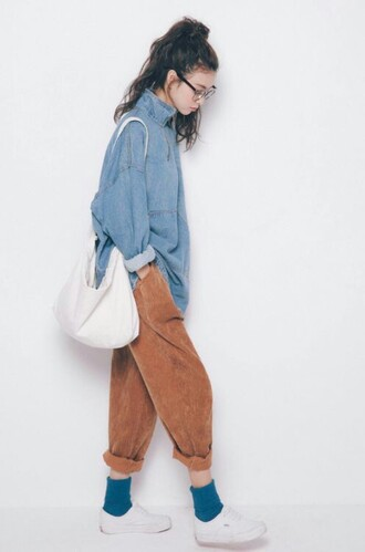 pants mustard pants ribbed tumblr brown baggy top blouse style retro vintage jacket denim