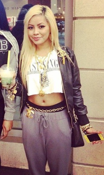 pants baggy pants leather jacket jacket grey sweatpants crop tops white black jewels shirt jewelry