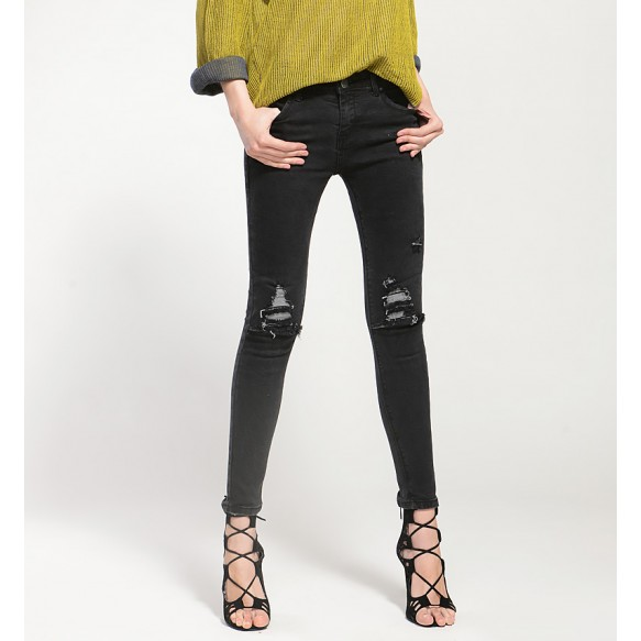 Mid Rise Distressed Jeans at Style Moi