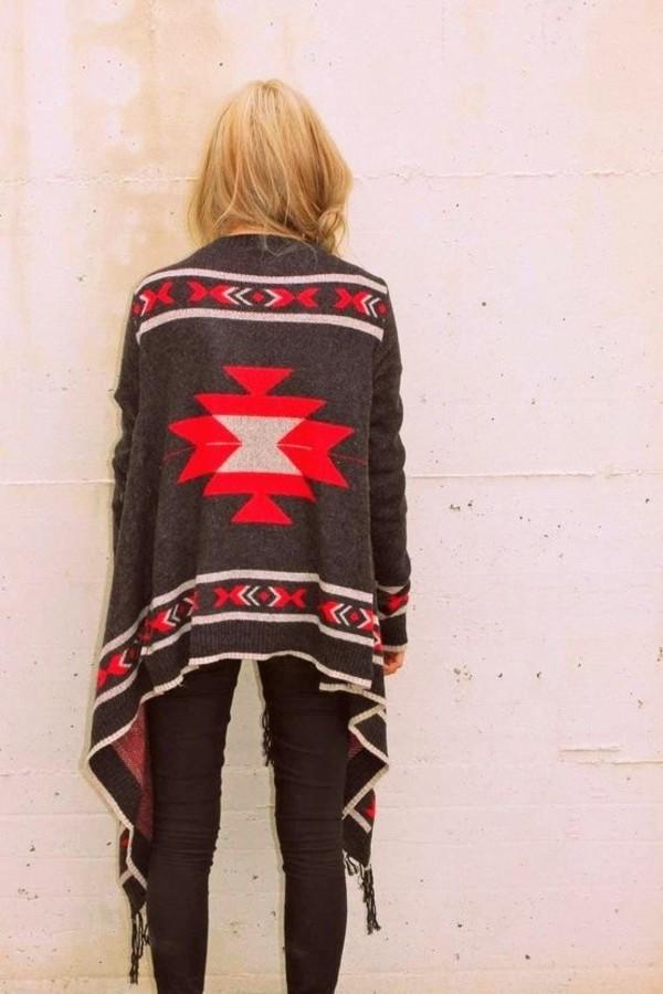 cardigan boho blanket wrap aztec