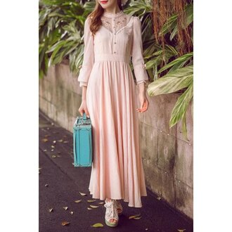 dress pink pastel pastel pink vintage maxi dress long dress lace dress vintage dress pleated skirt hijab