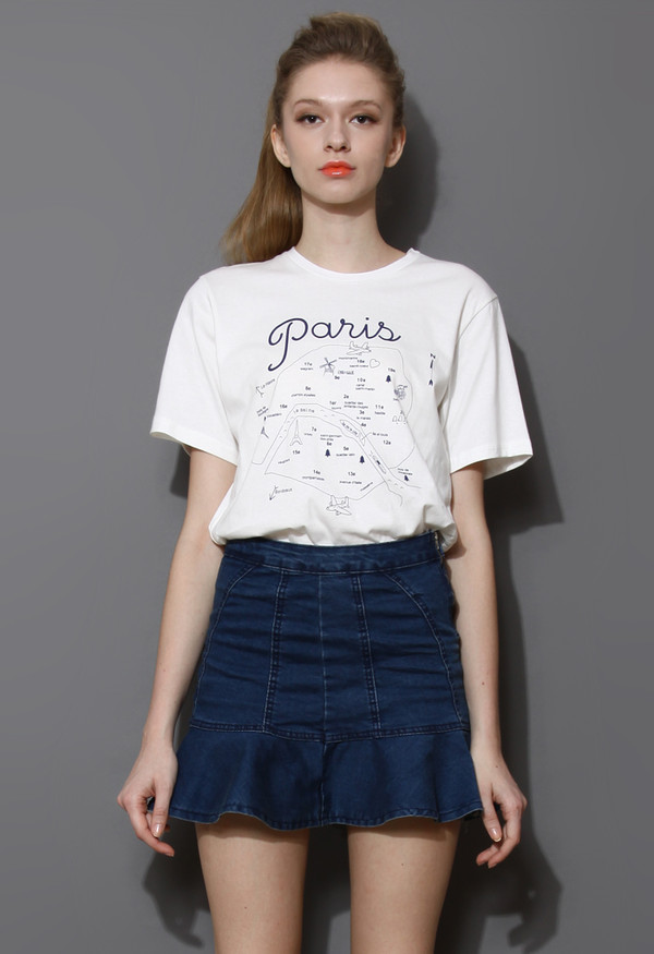 t-shirt paris route oversized skirt