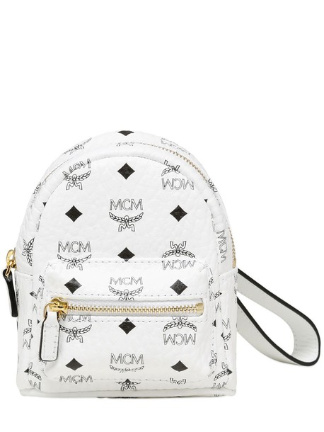 MCM mini backpack leather backpack pouch leather white bag