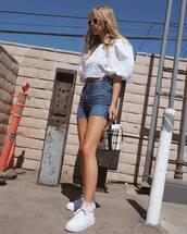 shorts,denim shorts,top,denim,sneakers,white sneakers
