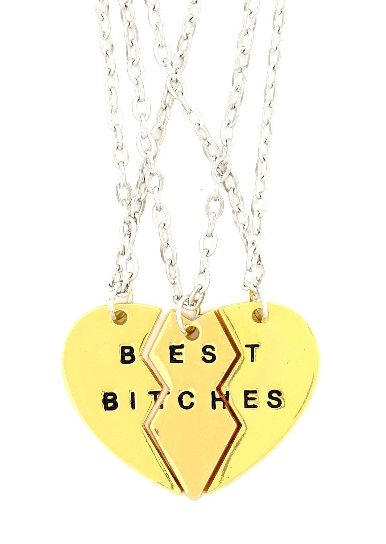 amazon   best bitches heart necklace 3 pc set gold tone