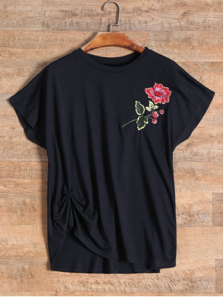 top shirt black roses floral embroidered casual summer zaful