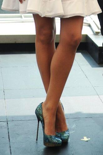 shoes blue green pumps high heels sandals turquoise