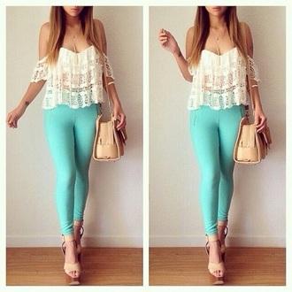 top white top pants blue pants