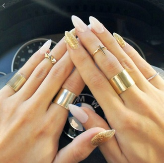 ring gold nail polish cross gold ring knuckle ring nail accessories