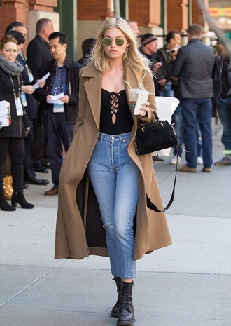coat top elsa hosk paris fashion week 2016 streetstyle ankle boots lace up camel coat fall outfits beige coat