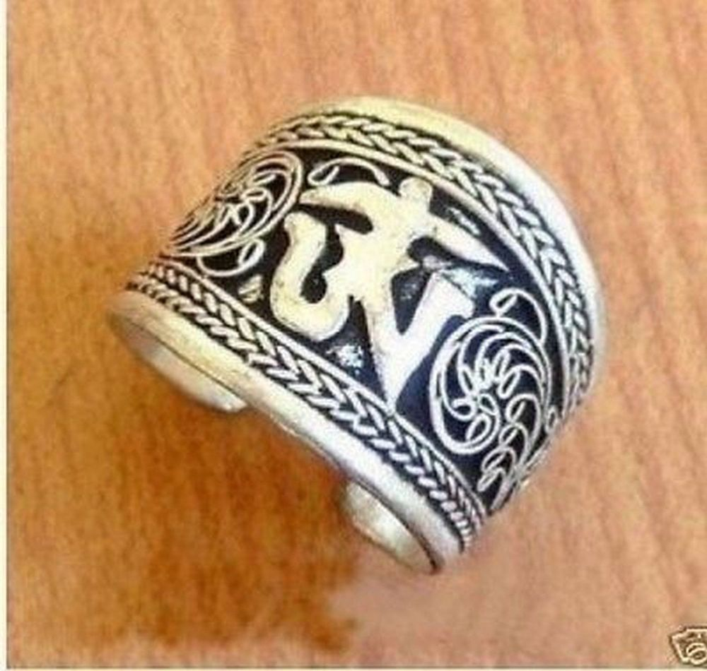 Beautiful Tibet Silver One Word Mantra Thumb Ring