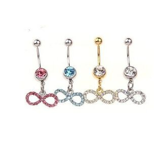 jewels yellow pink white blue belly button ring belly button ring infinity