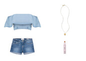 top,ruffle,ruffled top,denim,chambray,denim shorts,necklace,highlighter,make-up