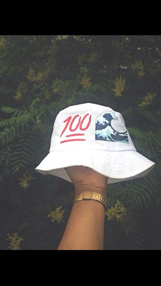 white hat white white dress emoji print bucket hat cool