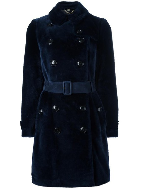 Burberry coat fur women blue suede