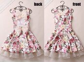 dress,bows,pink,white,fashion,flowers,floral dress,open back,open backed dress,ribbon,prom,ruffle
