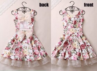 dress bows pink white fashion flowers floral dress open back open backed dress ribbon prom ruffle