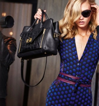 dress diane von furstenberg polka dots wrap dress elegance chic blue blue dress furstenberg designer publicity model star style karlie kloss fall winter outfits autumn/winter 2016 trends trendy