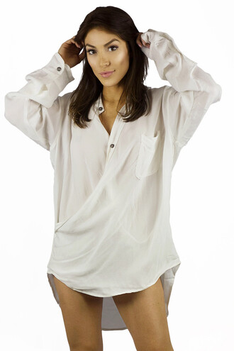 blouse white oversized long sleeves fashion style trendy freevibrationz