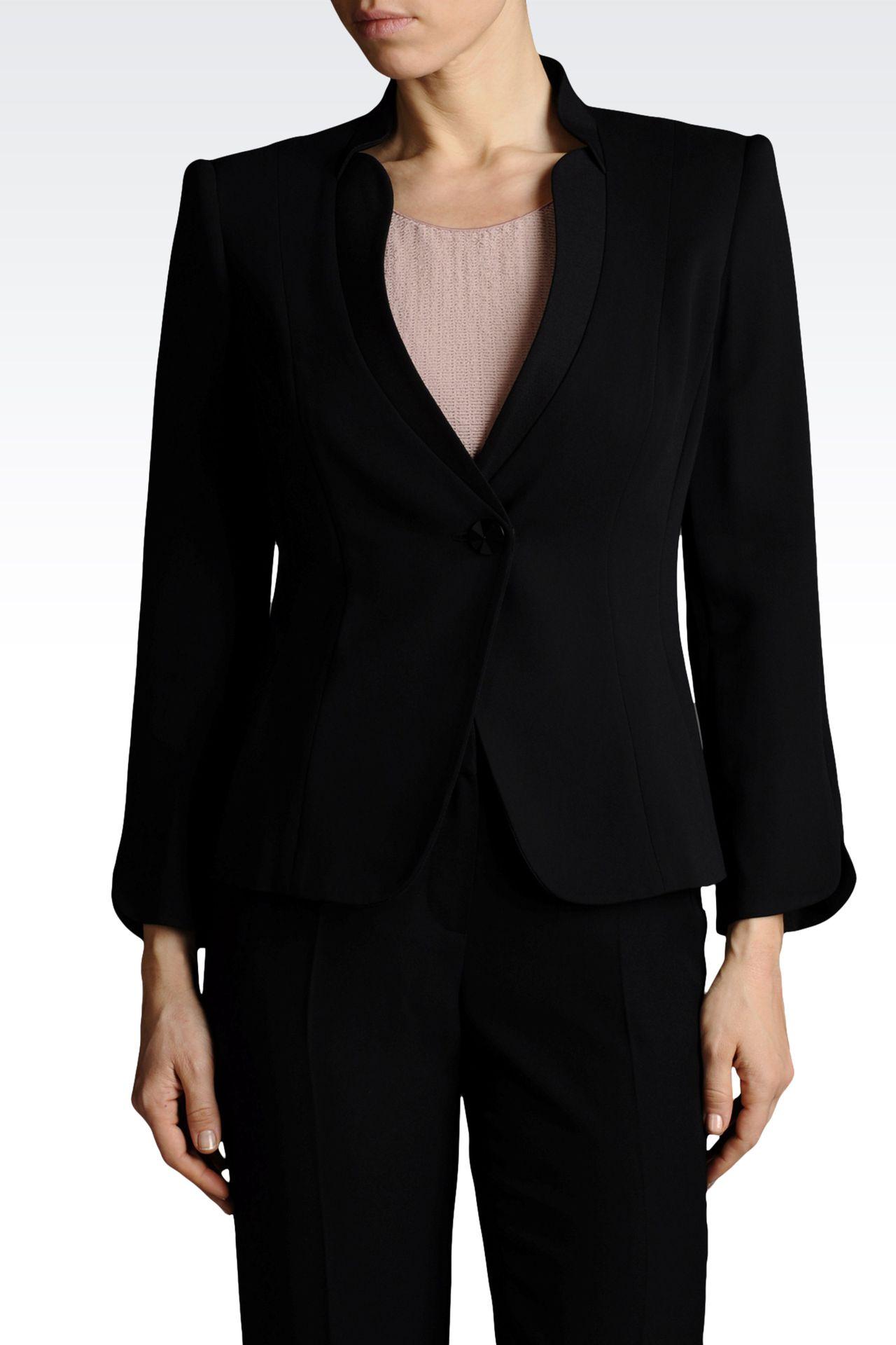 Armani Collezioni Women One Button Jacket - SINGLE BUTTON JACKET IN CRÊPE Armani Collezioni Official Online Store