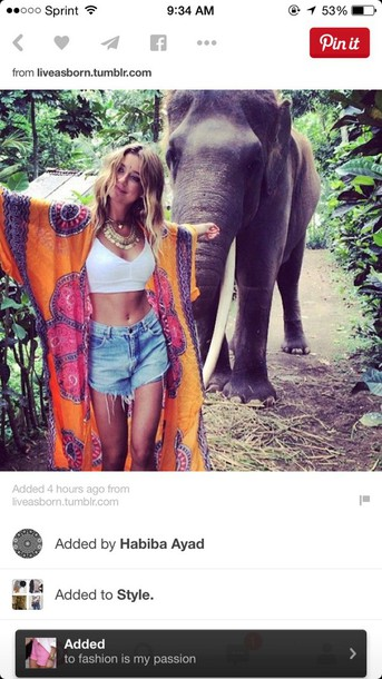 cardigan kimono hippie High waisted shorts elephant tie dye gypsy style gold necklace sweet african print hawaiian hipster boho bohemian coachella festival blogger grunge levi's shorts colorful perfect jewels necklace top crop tops crop cropped bra cute animal print hype boho kimono kimono hippie casual blouse