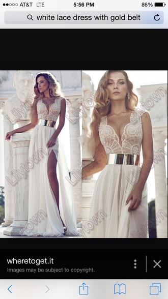 dress white t-shirt lace dress gold belt