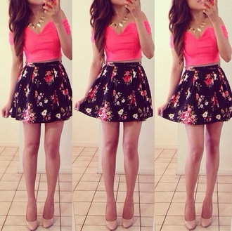 skirt black floral cute sexy casual shirt blouse cute outfits crop tops black skater skirt pink top fashion material bright crop tops jewels crystal outfit pumps heels hight heels red sole shiny sparkle flowers floral skater skirt pink crop top dress