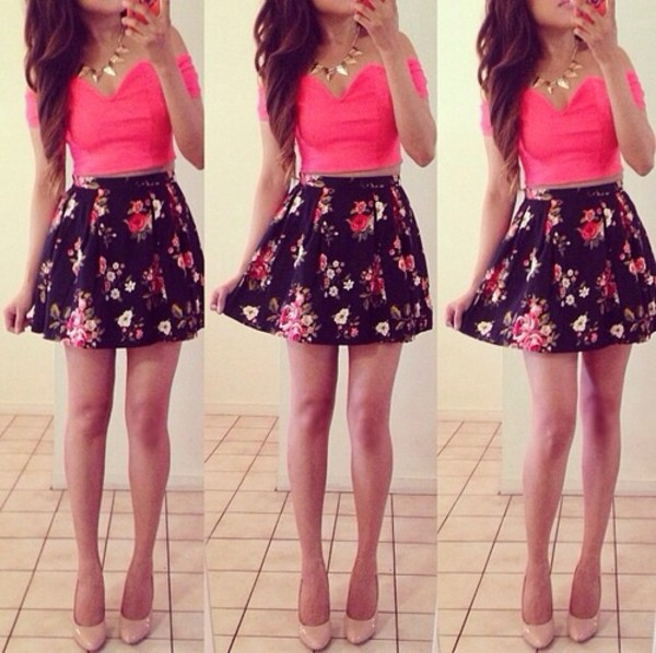 skirt black floral cute sexy casual shirt blouse cute outfits crop tops black skater skirt pink top fashion material bright crop tops jewels crystal outfit pumps heels hight heels red sole shiny sparkle flowers floral floral skater skirt pink crop top dress crop tops