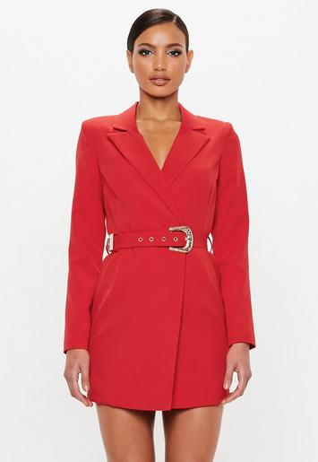 Missguided - Peace   Love Red Belted Blazer Dress