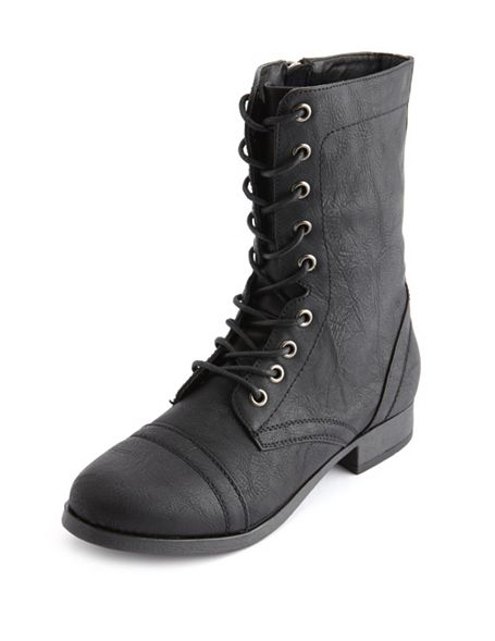 Lace-Up Combat Boot: Charlotte Russe