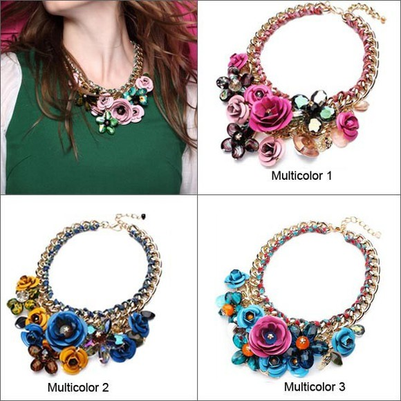 multicolor jewels necklace flower banggood resin beads