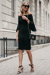 fashionjackson,blogger,dress,shoes,bag,sunglasses,jewels,fall outfits,off the shoulder dress,black dress,gucci bag,sandals
