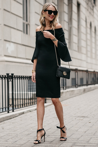fashionjackson blogger dress shoes bag sunglasses jewels fall outfits off the shoulder dress black dress gucci bag sandals