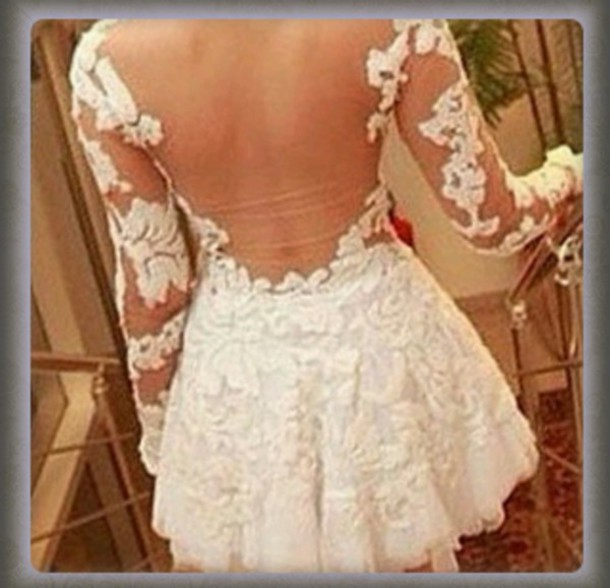 dress mignon jolie lovely lace dress sexy prom dress style backless cute party dress rose wholesale beautiful lace white fashion Sexy Long Sleeve Round Neck Spliced See-Through Slimming Women's Dress party rg