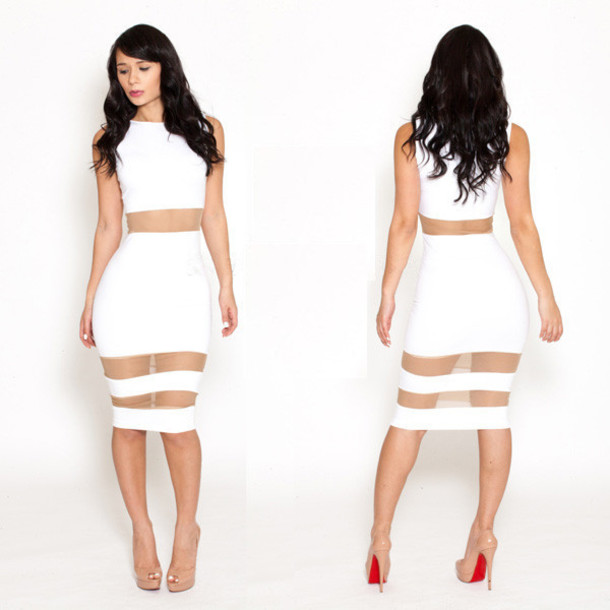 dress white dress party dress mesh tight