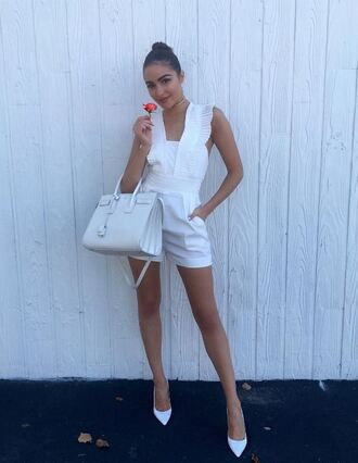 romper jumpsuit olivia culpo pumps all white everything white summer summer outfits purse instagram