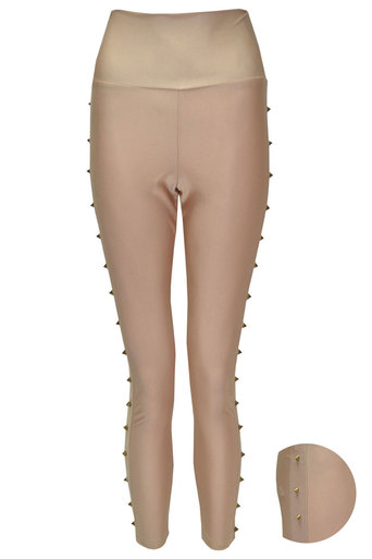 Sada Wet Look Studded Legging In Nude - Pop Couture