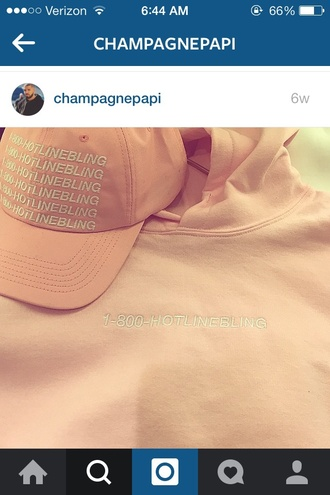 hat cap pink music baseball cap light pink drake drake clothing hoodie hotline bling baby pink daddy urban pastel pink