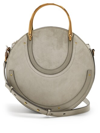 cross bag leather suede light grey