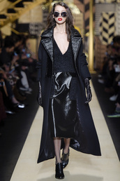 skirt,black dress,all black everything,midi dress,midi skirt,coat,fall outfits,sunglasses,max mara,milan fashion week 2016,fashion week 2016,sweater,plunge v neck