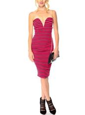 pencil dress,midi dress,party dress,striped dress,sexy dress,plunge dress,deep plunge dress,plunge v neck,plunged neckline dress
