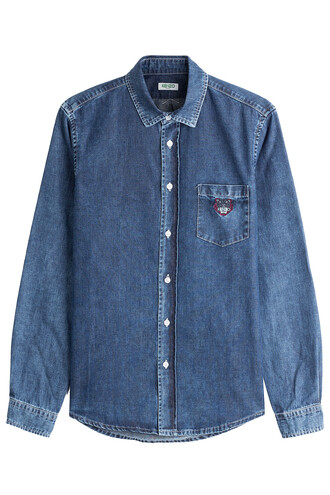 shirt denim shirt denim blue top