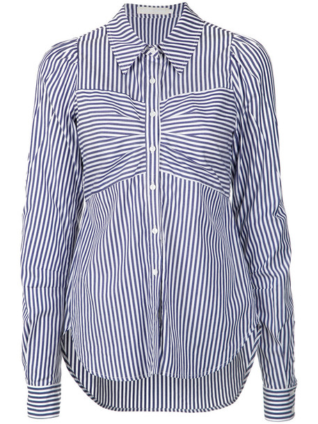 Giuliana Romanno shirt striped shirt women cotton blue top