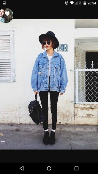 jacket jeans pants blue cardigan grunge black white denim denim jacket coat hat