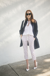 could i have that,blogger,coat,cropped pants,striped pants,white shirt,pants,blouse,sunglasses,jewels,shoes,bag,french girl style